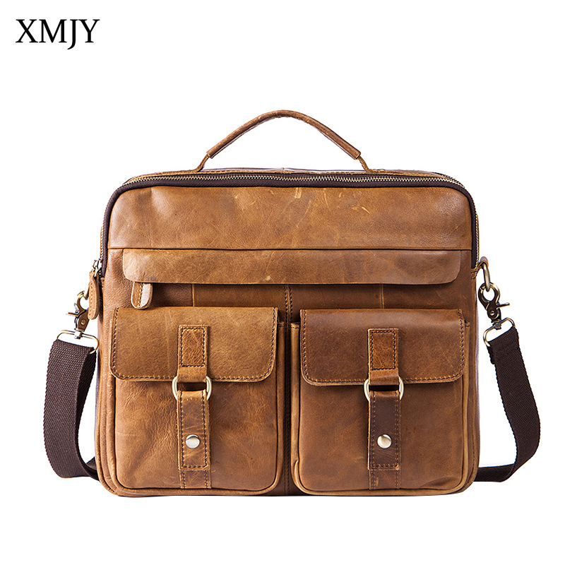 XMJY Men Messenger Bags Genuine Leather Briefcase Men's Shoulder Cow Leather Laptop Bag Vintage Handbags Tote Crossbody Bags men genuine leather bag messenger bag man crossbody large shoulder bag business tote briefcase brand handbags laptop briefcase