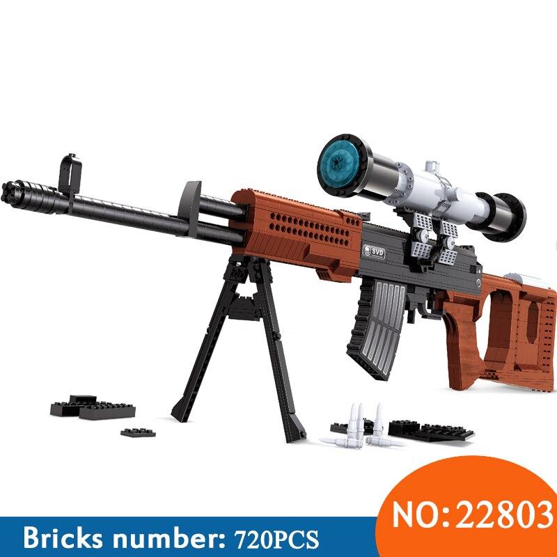 Ausini 22803 Militaire Technique série La SVD fusil de sniper 1:1 modèle building block set Classique pistolet l'éducation Jouets pour enfants