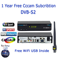 1 Año Cccc Cline Freesat V7 Max DVB-S2 Receptor de Tv Por Satélite envío 1 UNID Cccam USB WiFi Set top Box Árabe Eurepo Italia servidor