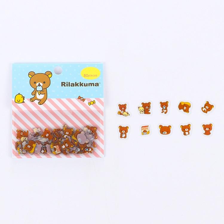 80 шт./пакет японская Канцелярия Стикеры s милый кот липкий Бумага Kawaii ПВХ дневник наклейка с медведем для украшения дневник в стиле Скрапбукинг - Цвет: 5