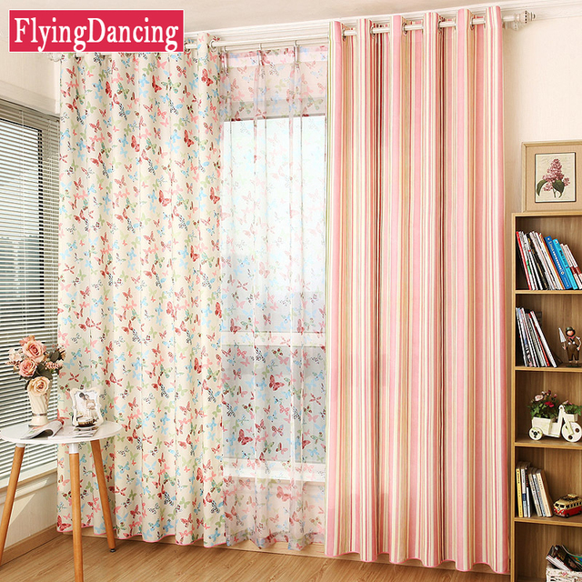 New Kids Pastoral Butterfly Curtains Girls Living Room Curtains Butterfly  /Stripes Modern Bedroom Window Tulle