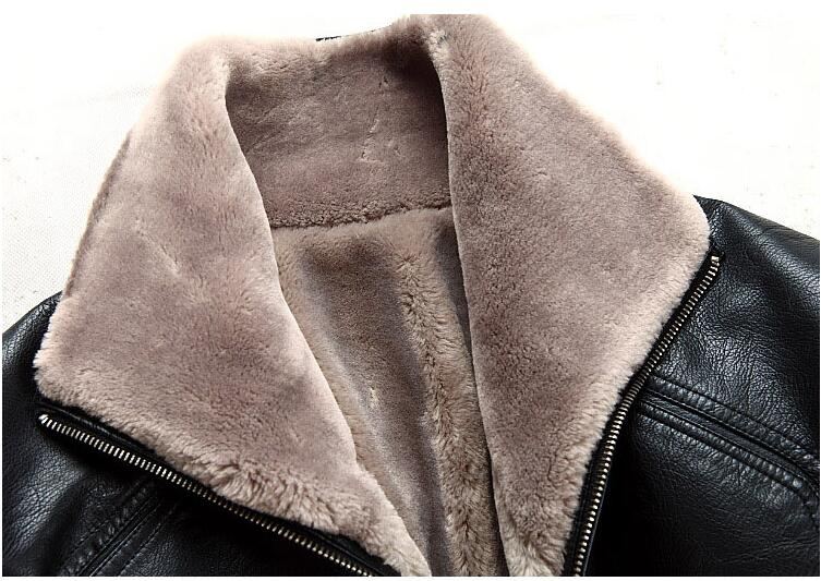 Casual design sheepskin short jacket Fur Faux Leather Jacket Men Jacket Warm Fleece Winter Leather clothing male fur outerwear in Faux Leather Coats from Men 39 s Clothing