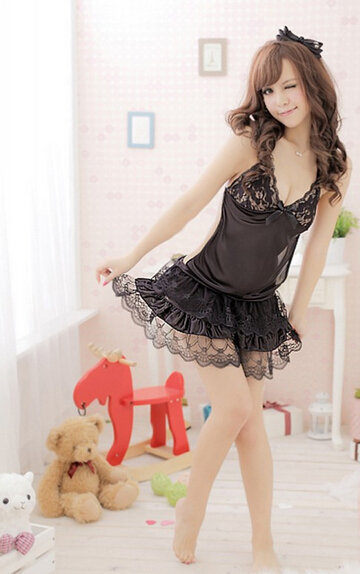 Black Lace Princess Dress font b Sex b font Lingerie Women Sexy Lace Lingerie Underwear Sleepwear