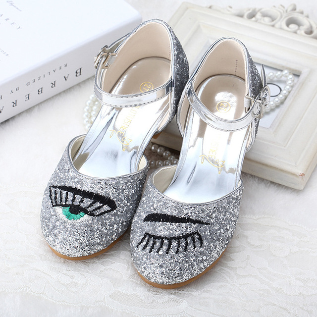 2016 Children Shoes Bling Glass Heel Children Sandals Dance Latin Shoes Performance Shoes Eyes Eyelashes Sequins Bright Girls