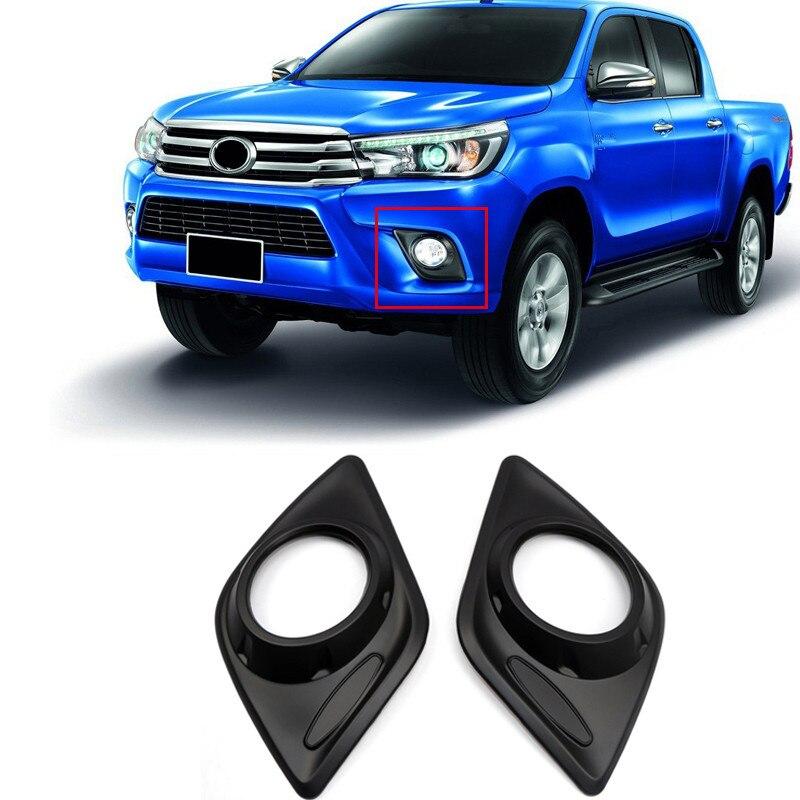Chrome/Black Front Foglight Fog Lamp Cover Frame Trim 2pcs For Toyota Hilux  Revo 2016 2017 Car Styling