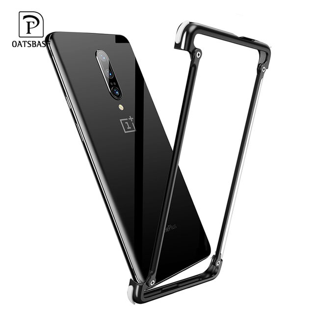 OATSBASF luxury Airbag Metal Case  For Oneplus 7t Case Personality Airbag Shell Metal Bumper Cover For Oneplus 7t pro