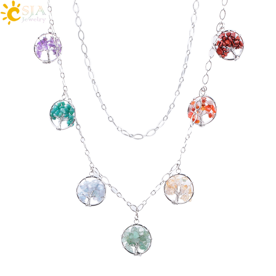 CSJA Reiki Maxi Bohemian Necklaces 7 Chakra Wisdom Tree of Life Pendants Natural Chip Gem Crystal Stone Ethnic Jewelry Gift F002 цена