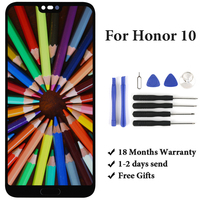 5.84'' Black Blue Green No Dead Pixel Panel For Huawei Honor 10 LCD Display With Frame With Fingerprint Phone Replacement Parts