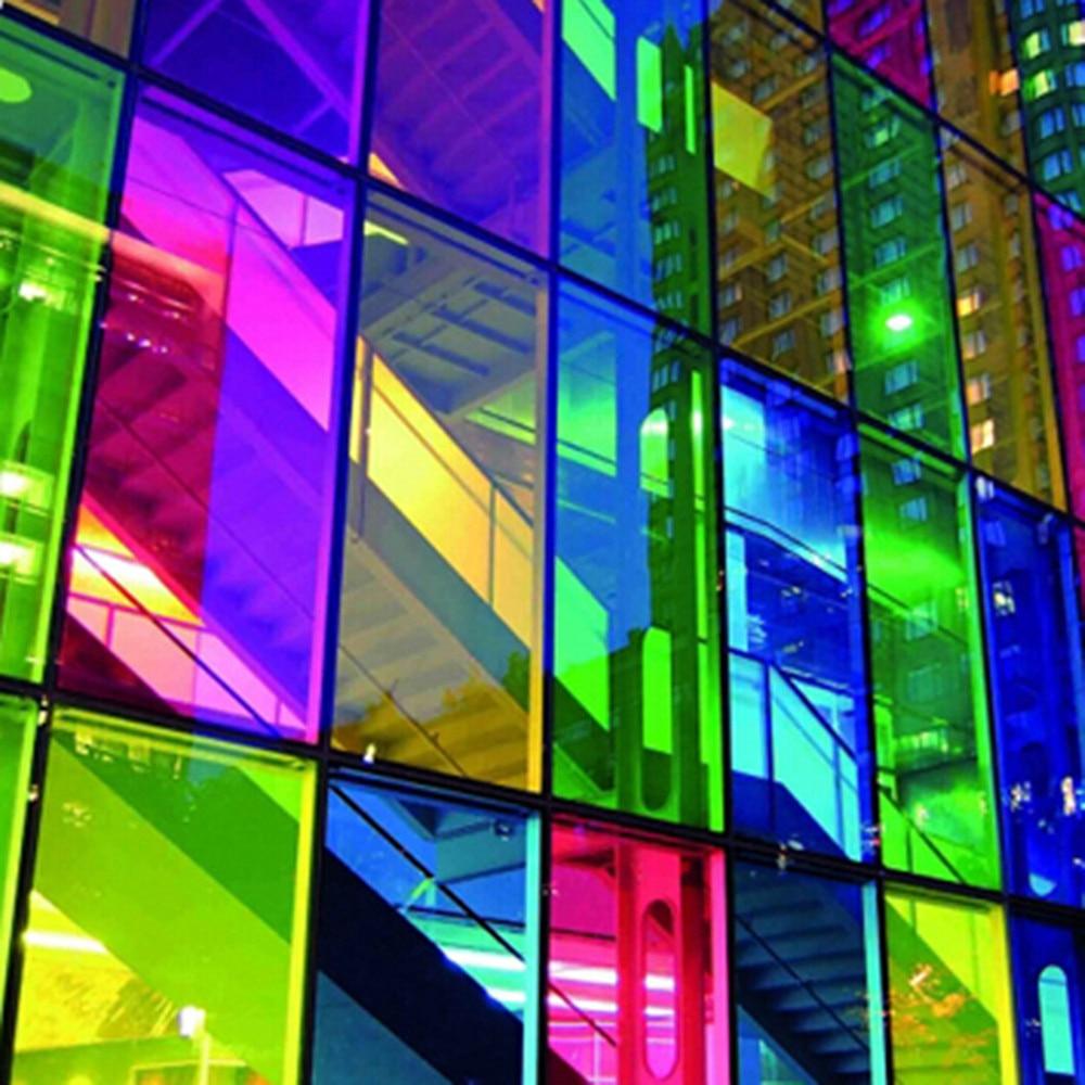 Coloré verre fenêtre film, PET auto-adhésif fenêtre films, église maison salle des fêtes feuille autocollants 1 m x 15 m Gros