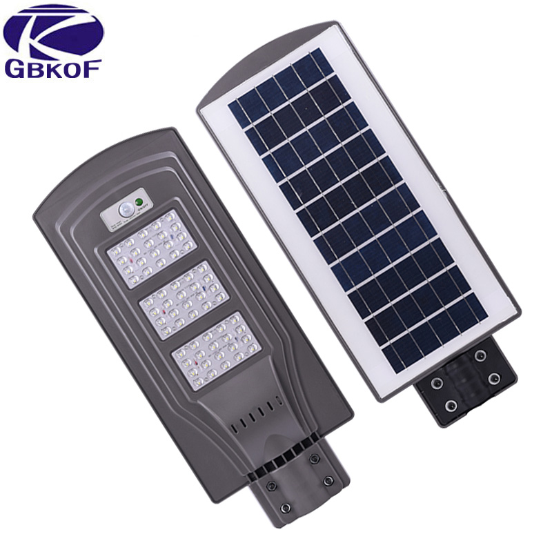 GBKOF 20w 40w 60w LED solar street light Outdoor Waterproof IP65 PIR sensor Smart light changes