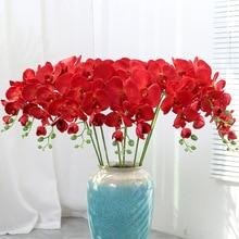 9 бутоны искусственных цветов Настоящее сенсорный Искусственный Мотылек Орхидея Бабочка Орхидея для новый дом свадебное праздничное украшение