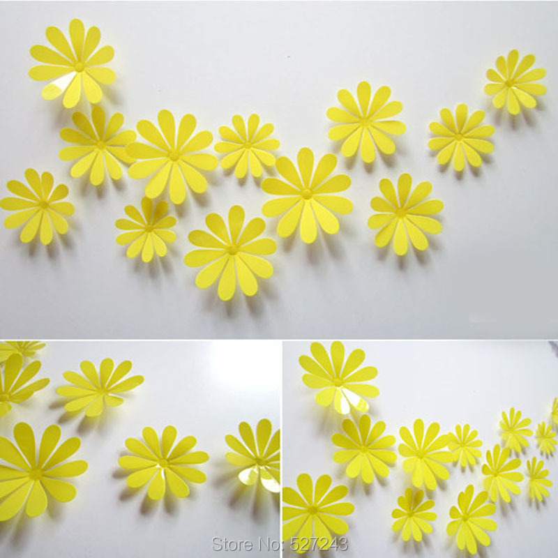 New 12PCS Creative Acrylic Room Decal 3D Flowers Wall Stickers Home ...