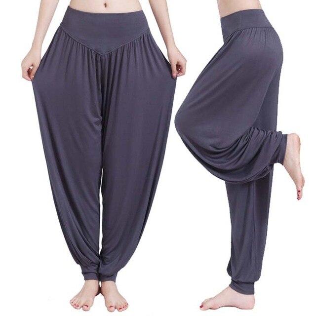 Women high waist Long Pants Harem Youga Modal Dancing Long Trouses Wide Loose Leg Belly Dance Comfy Boho Pants colors YF483 4