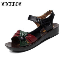 2017 summer shoes flat sandals women aged leather flat with mixed colors fashion sandals comfortable old shoes 6126W
