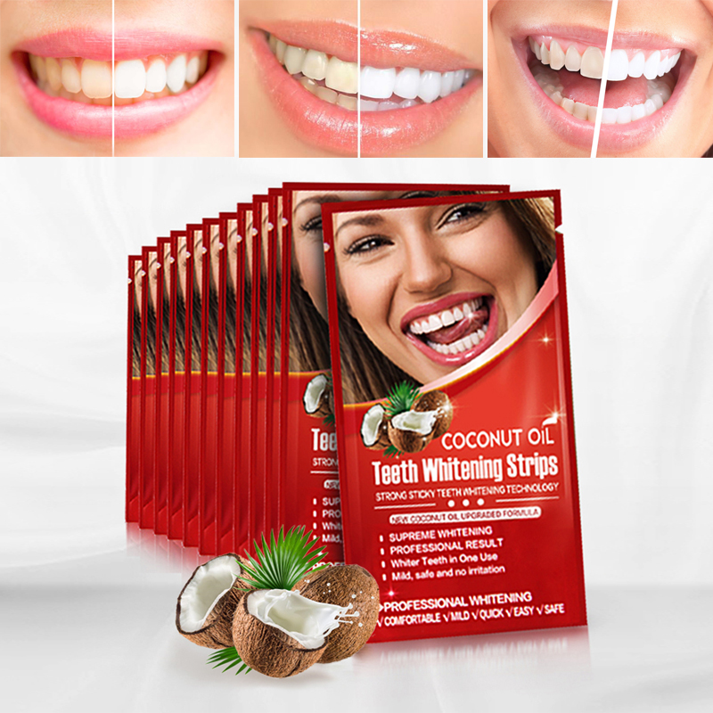 Activated Charcoal Teeth Whitening Strip Coconut Oil Dental Bealching Whitestrips Remove Stain & Plaque Enamel Safe Oral Hygiene