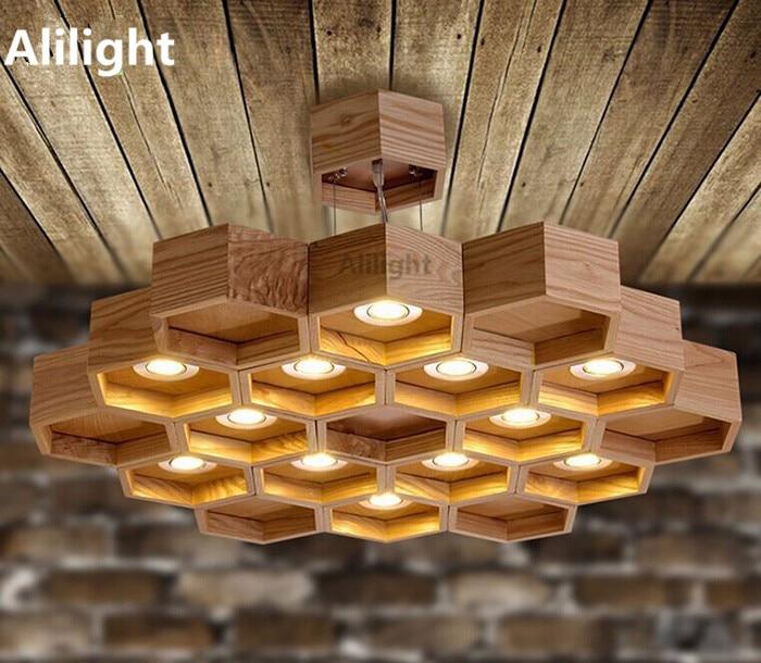 Moderne Holz Honeycomb Pendelleuchte Foyer/Esszimmer/Bar/Kaffee  Pendelleuchte Wohnkultur Hängelampe Innen Leuchten