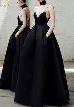 цена на Black A Line Evening Dresses 2019 Deep V Neck Sleeveless Spaghetti Strap robe soiree Formal Party Long Satin Backless Prom Gowns