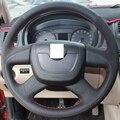 XuJi Black Genuine Leather Suede Car Steering Wheel Cover for Skoda Octavia Skoda Superb 2012 Skoda Fabia Octavia a5