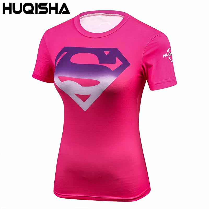 Women Casual Marvel Costume Superhero superman T Shirt Short Sleeve Girl Fitness Tights Compression tshirts Red
