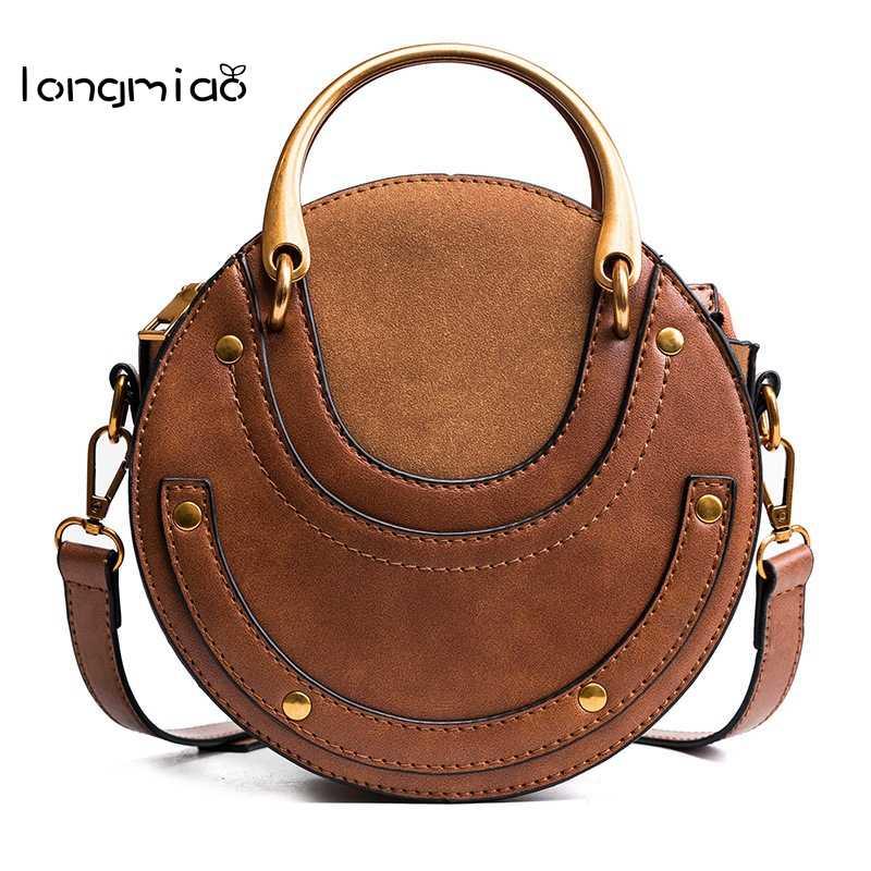 6987d85b9 longmiao Women Round Bag handles High Quality Designer Handbags Women Small  Messenger Bag Fashion Circle Purses