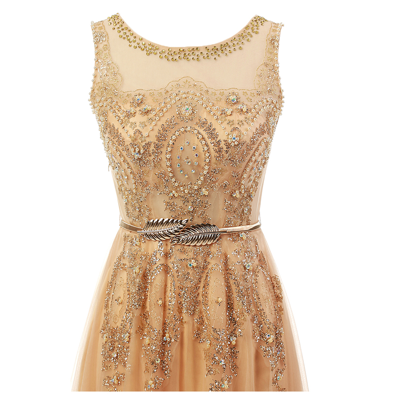 Champagne Long Elegant Appliques Beading Party Prom Dresses 1
