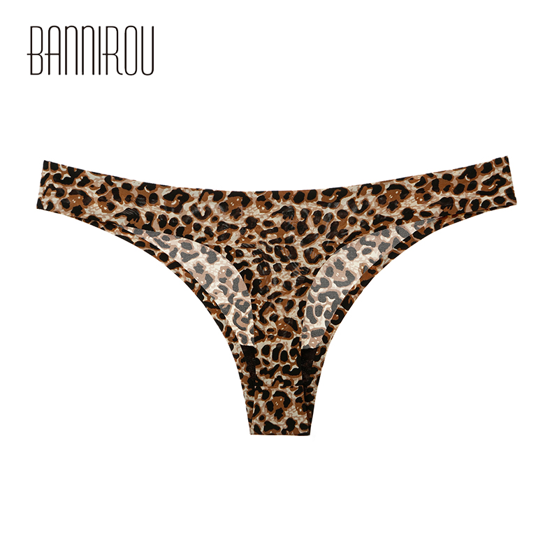 1 Pcs Woman Underwear Panty Sexy Thong Leopard Female T-back Solid Soft G-string Seamless New Thong For Woman Underwear BANNIROU