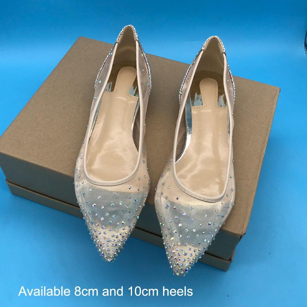 Kathlyn Wong Summer Mesh Upper Shiny Crystal Pointed Toe Flats Metallic Silver Women Wedding shoes