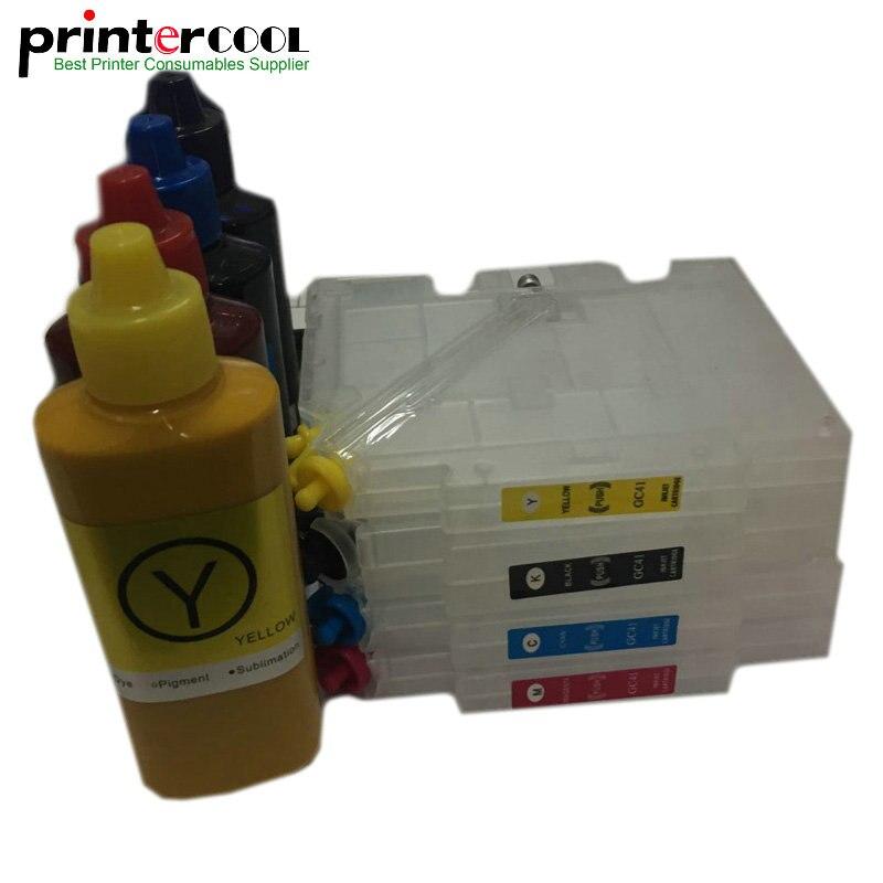 1Set GC41 Refillable Ink Cartridge GC41 Sublimation Ink for Ricoh SG2100N SG3100 SG3100SNW SG3110DNW SG3110DN SG3110SFNW