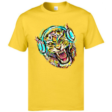 Country Music Tshirts Cool Mens Summer Tops T Shirts Bass Jazz Headsets Tiger Fitness Man Tee Homme Yellow