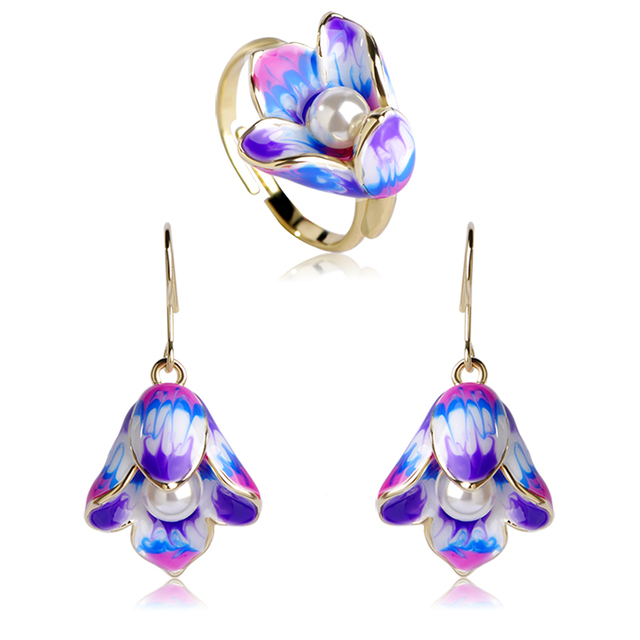 Madrry Fashion Enamel Jewelry Sets Earrings&Ring Gold color Pearl Flower Brincos Anillo Brand Wedding Party Schmuck Sets 1
