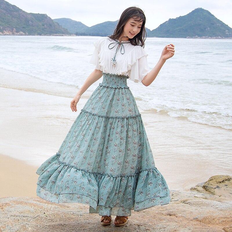 Kadın Giyim'ten Elbiseler'de Ücretsiz Kargo Boshow 2019 Yeni Bohemian Kadınlar Uzun Maxi Kısa Kollu Yaz S L Ruffles Şifon Büyük Hem Çiçek Baskı Elbiseler'da  Grup 1