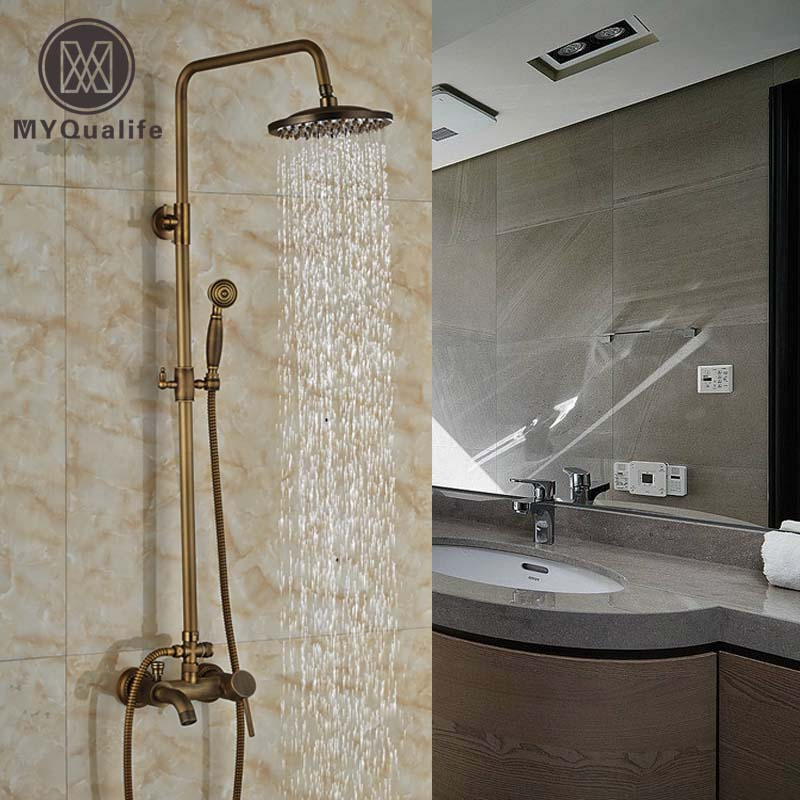 Brass Antique Single Handle Bathroom Shower Faucet Complete Set Wall Mount with Handshower w/ tub spout bathroom vintage shower wall surface mount brass rainfall bathtub shower faucet set antique brass with handshower tub spout
