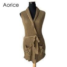 VT803-1 Vintage Sleeveless Short Knitted Vest Women Spring Sweater Cardigan Poncho Open Stitch Waistcoat belt