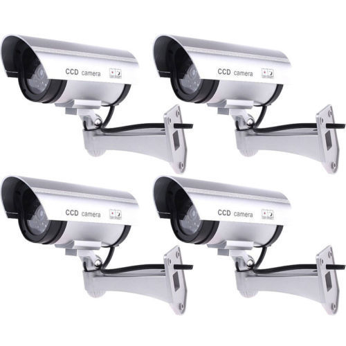 цена 4 Pack Silver IR Bullet Fake Dummy Surveillance Security Camera CCTV Record Light
