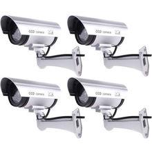 4 Pack Silver IR Bullet Fake Dummy Surveillance Security Camera CCTV Record Light