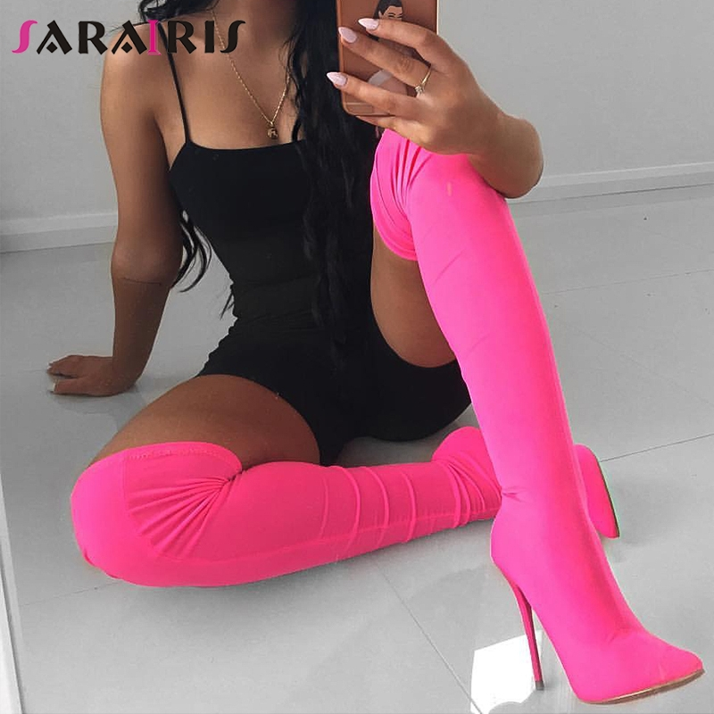 SARAIRIS New Fashion Color Customized Stretchy Lycra Sock Boots Pointy Toe Over the Knee Heel Thigh