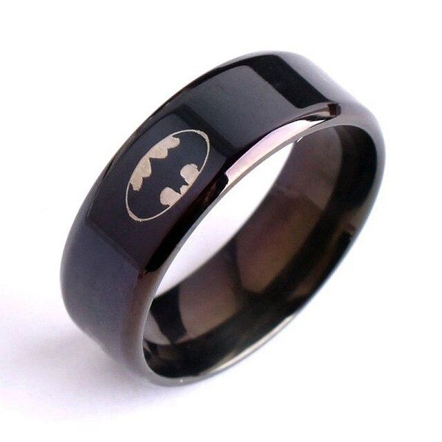 Simple Cool Men Black 8mm 8g Batman Logo Stainless Steel Male Finger