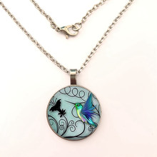 Animal Hummingbird Pattern Glass Necklace Women Men Gifts Patterned Glass Pendant Necklace Jewelry(China)