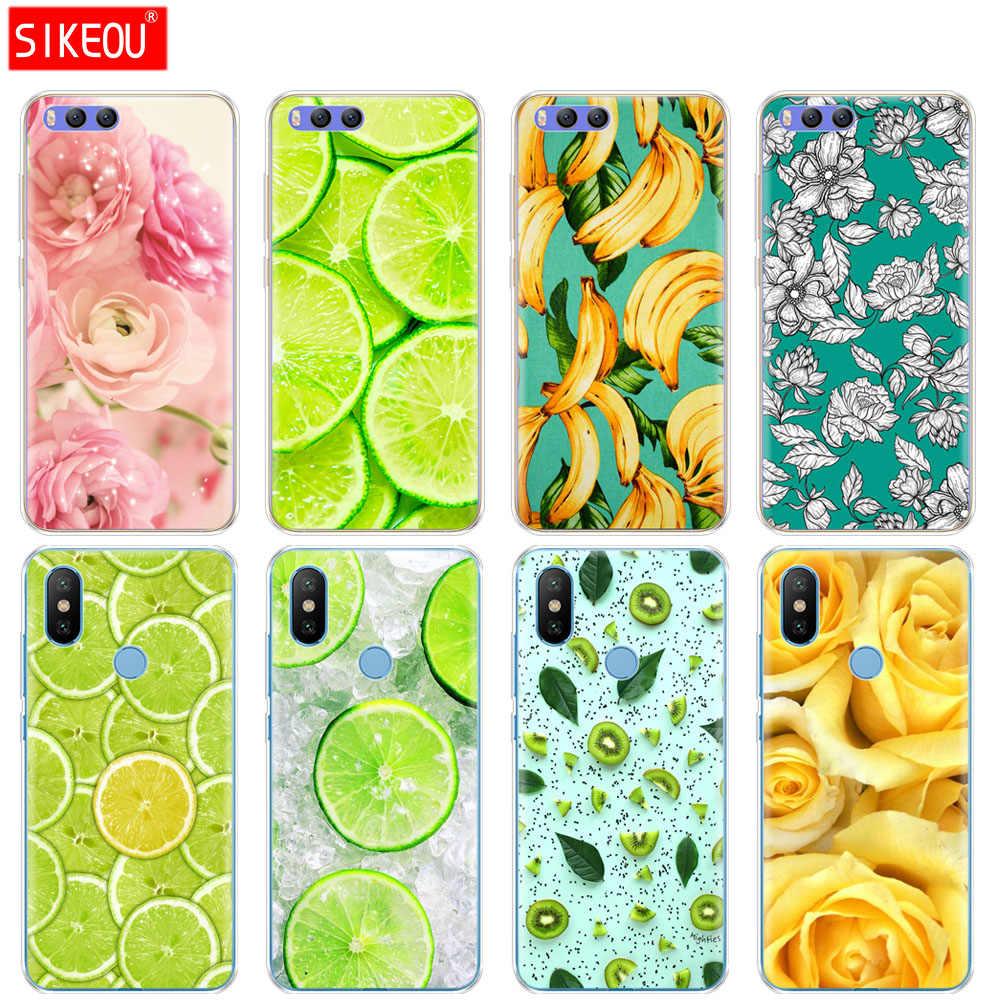 Siliconen Beschermhoes Voor Xiaomi Mi A1 A2 5 5 S 5X 6 Mi5 MI6 NOTE 3 MAX Mix 2 2 S citroen fruit bloem