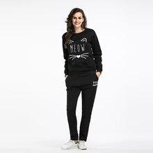 a00935d4ce 2018 moda damska jesień i zima dresy dwuczęściowy zestaw Crop druku bluzy z  kapturem Top +