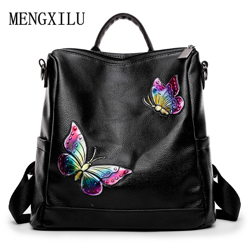 Butterfly Women Backpack Female New PU Leather Mochila Escolar School Bags For Teenagers Girls Top-handle Backpacks Travel Bags 2017 new fashion women bag backpack pu leather mochila escolar school bags teenagers girls top handle backpacks herald female