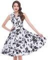 Vestido de las mujeres 2016 Algodón Floral Causal Verano Vestidos Robe Femme Túnica 1950 s 60 s Retro Rockabilly Swing vestido de Partido de La Vendimia vestido