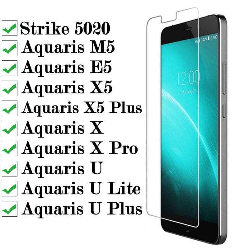Image 2 - Protective Glass For Bq Strike 5020 Aquaris X Pro M5 E5 X5 Plus U Lite Tempered Glas Screen Protector On M E X 5 5m 5e 5x Xpro-in Phone Screen Protectors from Cellphones & Telecommunications
