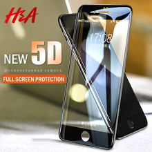 H&A 5D Full Cover Edge Tempered Glass For iPhone 7 8 6 Plus Screen Protector For iPhone 6 6s 7 Plus Film Protection Glass(China)