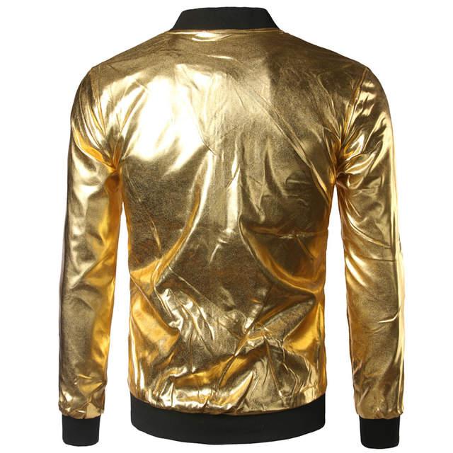ee1ae660021 Silver Metallic Bomber Jacket Men Mandarin Collar Shiny Night Club Baseball  Varsity Jacket Men Casual Slim Fit Mens Jacket Coats-in Jackets from Men's  ...