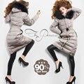 2016 зимняя куртка женщин вниз куртки высокого качества мех енота С Капюшоном С длинным дизайн тонкий женщин вниз пальто вниз Верхняя Одежда куртка