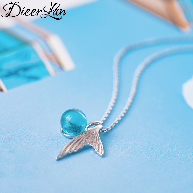 4c06538f6fa03 US $3.28 45% OFF DIEERLAN Boho Trendy 925 Sterling Silver Blue Ball Mermaid  Tail Choker Necklaces For Women Statement Jewelry Kolye Collares-in Choker  ...