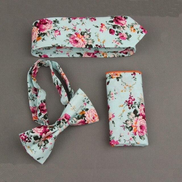 New Fashion Floral Men Tie Sets for Wedding Party Men Suit Handkerchief Tie Set Flower Dots Pocket Square Bow Groom Necktie Sets