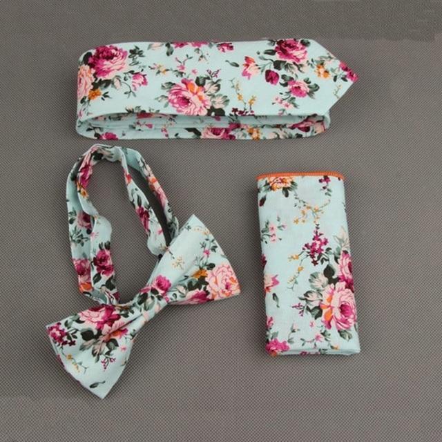 Nueva Moda Floral Hombres Corbata Conjuntos para el Banquete de Boda de Los Hombres Traje Bolsillo Cuadrado pañuelo Tie Set Flower Dots Arco Novio Corbata Conjuntos