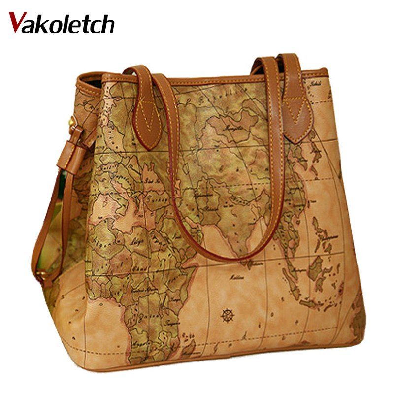 Women Pu Leather Handbags Vintage Printing Map Bag Ladies New Famous Brand Women Handbags Bolsas Women's Shoulder Bag W16-86